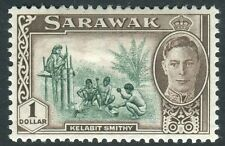 SARAWAK-1950 $1 Green & Chocolate Sg 183  MOUNTED MINT V14374