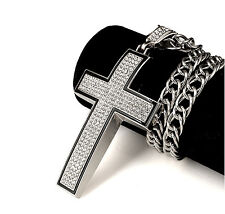 """Big Curve Cross Iced Out Pendant 32"""" Rope Chain Silver Tone Hip Hop Necklace"""
