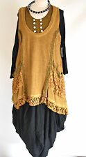 STUNNING SARAH SANTOS ASYMMETRIC 100% COTTON  TUNIC/DRESS SIZE XXL/XXXL  gold