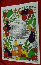 FRANCE RATATOUILLE PROVENCAL~Irish Linen~Tea~Hand~Kitchen~Dish~Towel~Ireland