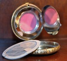 FACE POWDER COMPACT BLACK ENAMEL PINK ROSE TAPESTRY MAKEUP MIRROR 14K GOLD PLATD