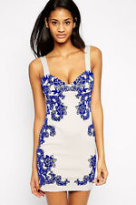 Ladies Womens Party Mini Dress Evening Bodycon Floral White Cocktail, Size 12 14