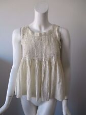 VANESSA VIRGINIA ANTHROPOLOGIE Beige Gold Metallic Stripe Sleeveless Top US 0