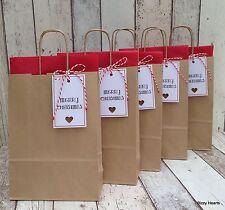 Marrone Kraft Borse Regalo Di Natale Natalizie con tessuto rosso Tag & Spago Set di 5