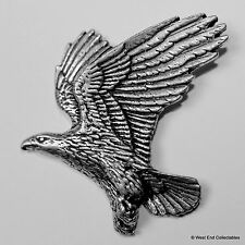 Soaring Eagle Pewter Brooch Pin - British Artisan Signed Badge - Falconry Golden