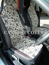 TO FIT A FORD FOCUS CAR, SEAT COVERS, CREAM HIPPY FLOWER - FULL SET