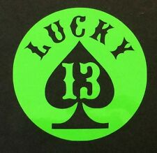 LUCKY 13 DECAL STICKER 14 COLORS CAR SPADE FORD CHEVY DODGE VW JDM HONDA MAZDA