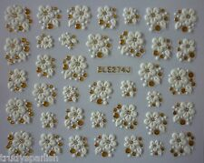 3D Nail Art Lace Stickers Decals  White Gold Flowers Rhinestone Gel Polish 274G