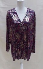 Essence (Evans?) stunning shiny/silky button through lg sleeve top Size 22 / 24