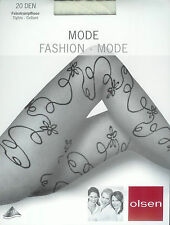 EDEL  Strumpfhose, Ornamentmuster, transparent - 20den, creme, 46-48  *olsen*