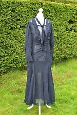 Vintage original 1920s 1930s navy sheer silk chiffon dress + slip