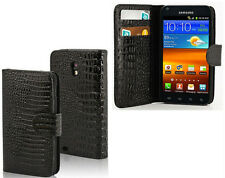 Croc Blk Wallet Purse+Hard Case For Samsung Galaxy S II 2 Epic Touch 4G SPH-D710