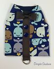 Once In A Whale Dog Harness Vest For Males Size XXXS-Medium by Doogie Couture