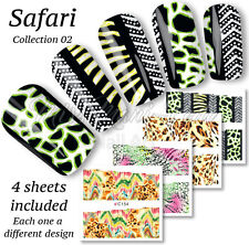 4x Full Cover Nail Water Stickers Wraps Transfers Animal Print Boho Safari Z154