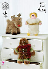 KINGCOLE 9055 -TINSEL XMAS KNITTING PATTERN- 3 DESIGNS -Not the finished toys