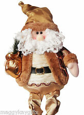 Large Sitting Santa - Dangly Legs - 70cm - Gold -  Novelty Christmas Decoration