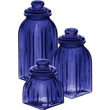 3 Piece Storage Jar Set in Blue Glass