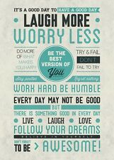 Be Awesome Laugh More Worry Less Be The Best Motivational Poster New 24x36