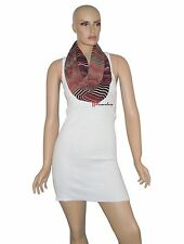 Calvin Klein Women's Wrap Scarf Black Red Gold Stripe Loop 100% Polyester $38