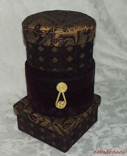 Three Decorative Purple Quilted Velvet Gold Cushion Stacking Storage Boxes