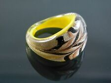 Designer Murano Glass Silver Foiled Lampwork Handmade Multicolor Ring US 7""