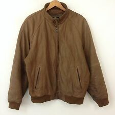 VTG 80s 90s Members Only Leather Bomber Jacket Mens SZ L Flight Motorcycle Brown