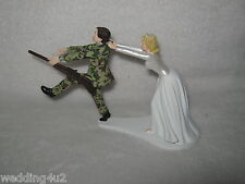 Wedding Military Camo Cake Topper Gun Rifle Run Away Groom