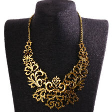Women Hollow Flower Pendant Choker Chunky Statement Bib Necklace Jewelry
