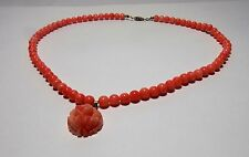 Natural Pink Coral Necklace with Pendant Solid 14K Clasp & Loop