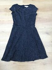 WOMENS BLACK SILVER GLITTER TEA DRESS BY BILLIE & BLOSSOM SIZE 8 EX CON