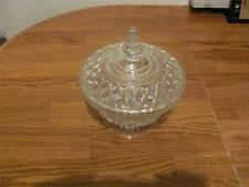 RARE VTG CLEAR GLASS CUT CRYSTAL COVERED CANDY DISH BOWL-COVERJAR -USED-MAN CAVE