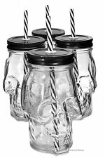 Set 4 Large 16oz Skull Halloween Mason Jar Glasses with Black Lids & Straws