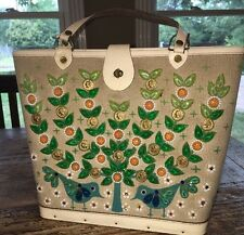 Enid Collins Vintage Handbag  MONEY TREE Birds Tree Coins Cream Aqua Daisies