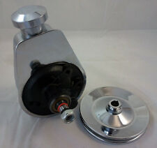SB Chevy SBC BBC Big Block Chevy Chrome Saginaw Power Steering Pump W/ Pulley V8
