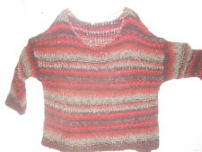 NWT Free People Anthropologie ~Chunky Rich Berry Striped Slouch Boxy Sweater ~ L