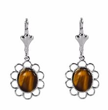 Tiger Eye Brown Cabochon Oval Silver Dangle Fashion Earrings Grace Of New York