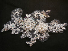 Ivory beaded sequins floral lace Applique bridal wedding lace motif 18.5x10.5cm