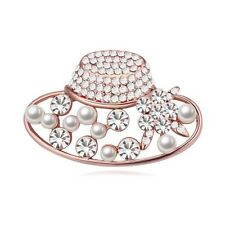 18K ROSE GOLD PLATED AND GENUINE CUBIC ZIRCONIA CRYSTAL & PEARL HAT  BROOCH