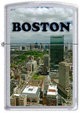 City of Boston Skyline ~ Beantown ~  Satin Chrome Zippo Lighter New