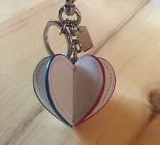Authentic NWT Coach Leather 3D Heart Keychain/Purse Charm W/Pouch
