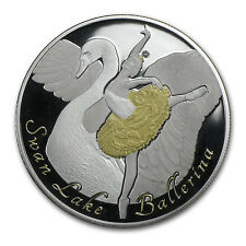 Cook Islands 2014 Silver $10 Swan Lake Diamond Ballerina Coin