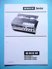 Service manual manual for Uher 4400/4200 Report - Stereo/4000 Report-L