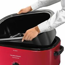 Turkey Roaster Oven Electric Slow Cooker Roast Bake Cook Serve Removable Pan Red