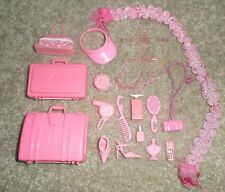 BARBIE DOLL TRAVEL ACCESSORY SET - 20pc LUGGAGE, SHOES, COSMETICS & MORE
