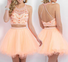 Custom Size Peach Two Piece Crop Top Halter Bead Prom Dresses Formal Bridesmaid