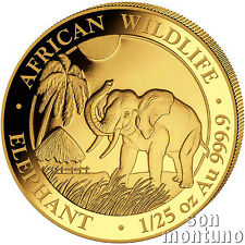 2017 SOMALIA GOLD ELEPHANT - 1/25 oz 24k Coin in Capsule African Wildlife .9999