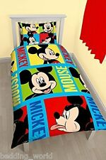 SINGLE BED MICKEY MOUSE BRIGHT DUVET COVER SET FACES RED BLUE GREEN PATCHWORK