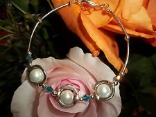 Hot Tibetan Silver Fashion White Glass Pearl & Blue Crystal Bead Bracelet S-16