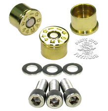 44 MAG BRASS BULLET BOLT CAPS FOR HARLEY DERBY COVER  (set of 3 BRASS)