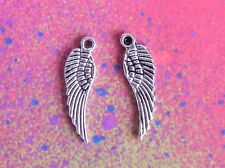 20 Angel Wings Bird Feather Wing Charm Tibetan Silver Charms for Jewelry Making